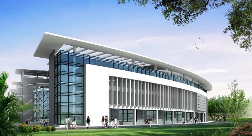 Lavori di costruzione della nuova sede dell Universita di Economia dell Azerbaigian